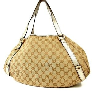 Auth Gucci Gg Canvas Tote Bag Canvas #382G263